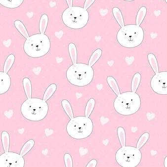Leuk naadloos patroon met konijn in kinderachtige stijl.