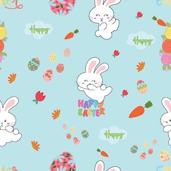 Leuk naadloos patroon met konijnen en paaseieren