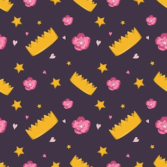Leuk naadloos patroon met kroonbloemen en sterren