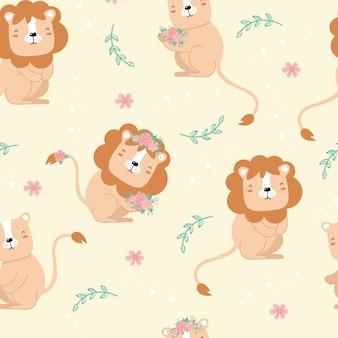 Leuk naadloos patroon met leeuwen