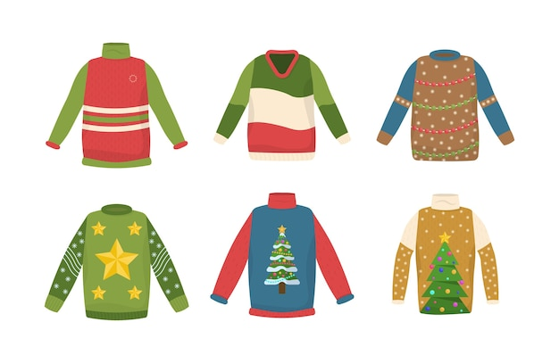 Leuk naadloos patroon met lelijke kerstmissweaters. leuke nieuwjaarskleding. collectie handgemaakte kersttrui. kan worden gebruikt voor uitnodiging voor feest, wenskaart, webdesign.