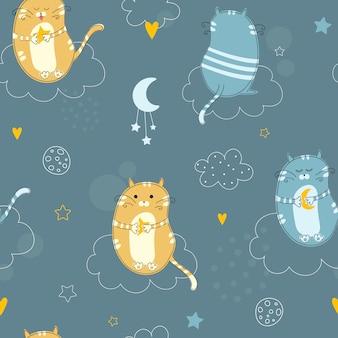 Leuk naadloos patroon met nachtkatten.