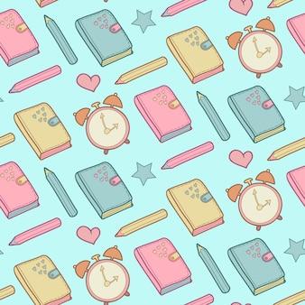 Leuk naadloos patroon met notitieboekje, wekker enz. schoolelementen, kinderachtige achtergrond.