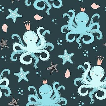 Leuk naadloos patroon met octopus, zeester.