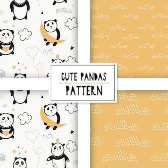 Leuk naadloos patroon met panda's op de wolken.
