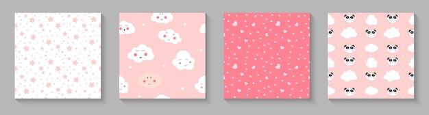Leuk naadloos patroon met pandaharten en wolken