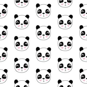 Leuk naadloos patroon met pandahoofd