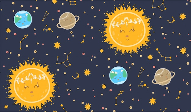 Leuk naadloos patroon met planeten