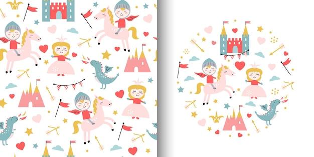 Leuk naadloos patroon met prinses.