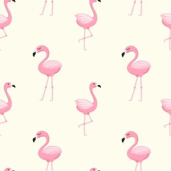 Leuk naadloos patroon met roze flamingo's in een cartoon-stijl. heldere achtergrond voor afdrukken op stof, behang en papier. vector