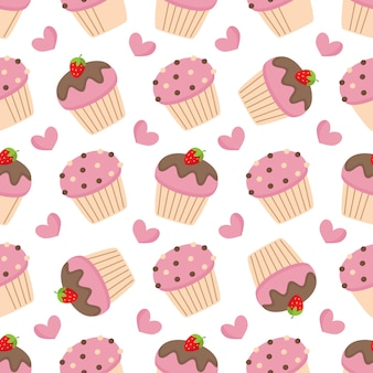 Leuk naadloos patroon met roze muffins.