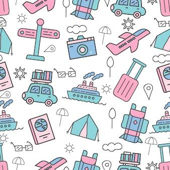 Leuk naadloos patroon met vakantie