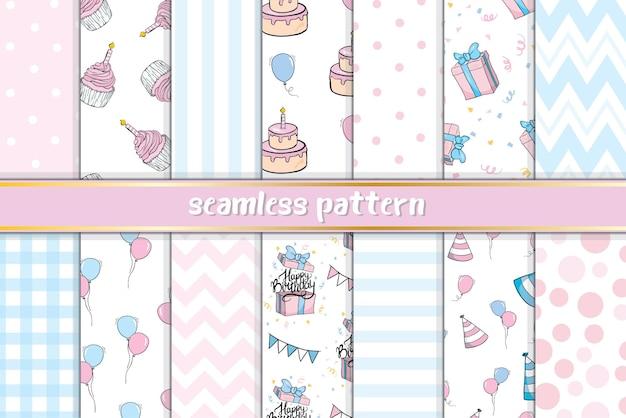Leuk naadloos patroon met verschillende snoepjes. verjaardag ontwerp.