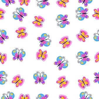 Leuk naadloos patroon met vlinders in een cartoon-stijl. heldere achtergrond voor afdrukken op stof, behang en papier. vector
