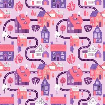 Leuk naadloos patroon met weg, huizen en bomen