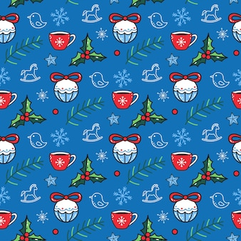 Leuk naadloos patroon met winterelementen op een blauwe achtergrond. grappige vector