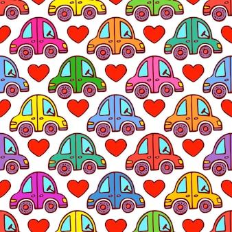 Leuk naadloos patroon van auto's en harten. handgetekende illustratie