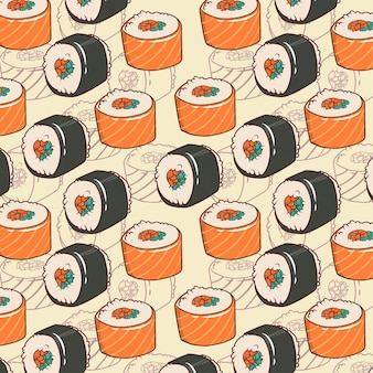 Leuk naadloos patroon van vector japanse sushi voor prints