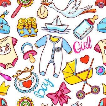Leuk naadloos patroon van verschillende dingen voor kinderen