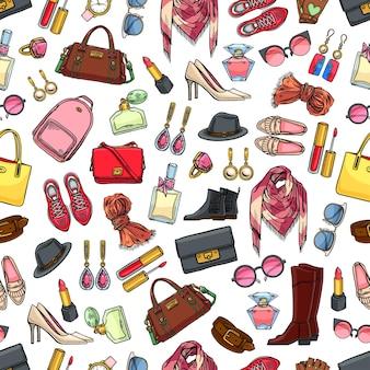 Leuk naadloos patroon van vrouwelijke kleding, schoenen en accessoires.