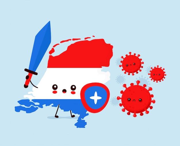 Leuk nederland vecht met coronavirusinfectie. vlakke stijl cartoon karakter illustratie