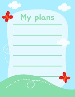 Leuk notitiepapier schrijf memo en schrijfplan voor herinnering vectorontwerp geschikt voor meerdere doeleinden