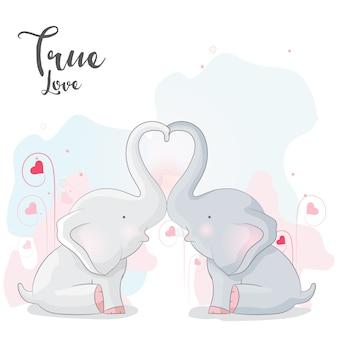 Leuk olifanten romantisch paar
