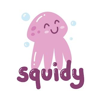 Leuk ontwerp met kawaii-octopus