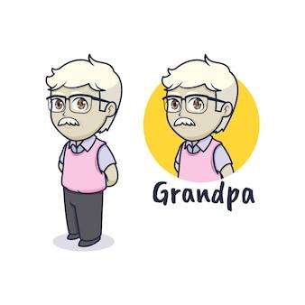 Leuk opa-mascotte-logo-ontwerp