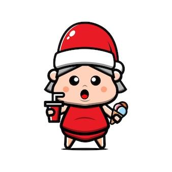 Leuk overgewicht meisje met kerstmuts cartoon afbeelding. kerst concept