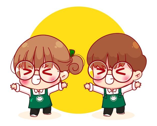 Leuk paar barista in schort heft armen op en voelt plezier en geamuseerd, lacht gelukkig cartoon karakter illustratie