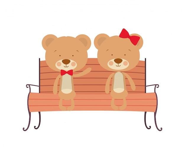 Leuk paar beren die op parkstoel zitten