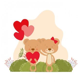Leuk paar beren verliefd