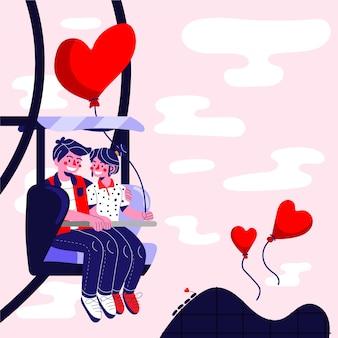 Leuk paar in een geïllustreerd pretwiel Gratis Vector