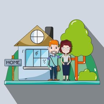 Leuk paar in het huis met vrijetijdskleding