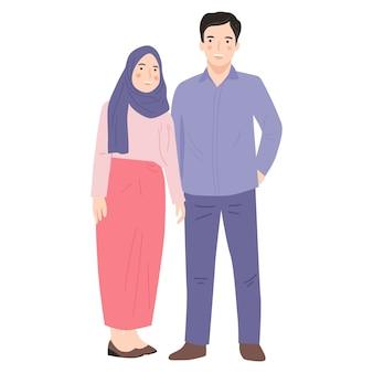 Leuk paar jonge man en vrouw cartoon