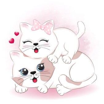 Leuk paar kat en hart valentijnsdag illustratie