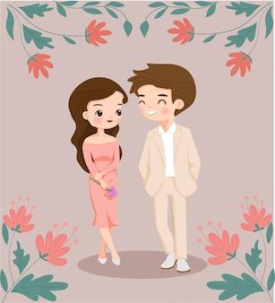 Leuk paar, man en vrouwenkarakter met bloemdecoratie