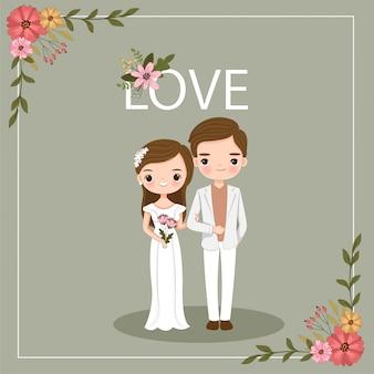 Leuk paar paar voor bruiloft uitnodigingskaart