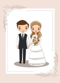 Leuk paar voor de kaart van huwelijksuitnodigingen
