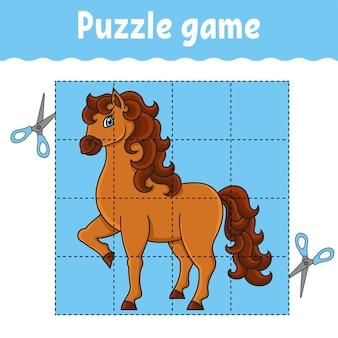 Leuk paard puzzelspel voor kinderen onderwijs ontwikkelen werkblad leerspel voor kinderen