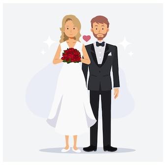 Leuk paarhuwelijk. bruid en bruidegom, bruiloft, platte cartoon karakter vectorillustratie.