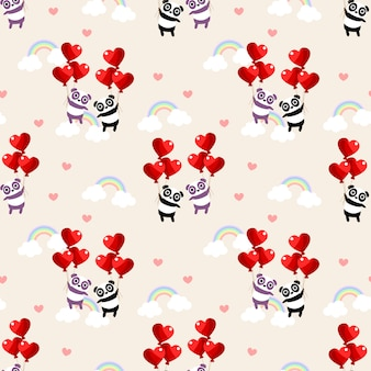 Leuk paarpanda en het naadloze patroon van de hartballon.