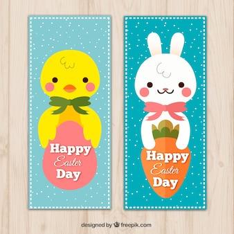 Leuk pasen banners met kuiken en bunny