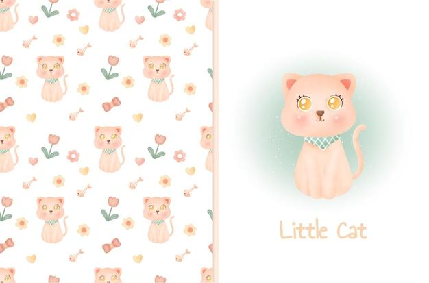 Leuk patroon en wenskaart met schattige kat.