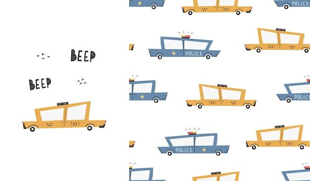 Leuk patroon met auto's. taxi. vervoer. politie. vector handgetekende kleur naadloze digitale print