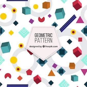 Leuk patroon met geometrische vormen in vlakke vormgeving