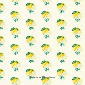 Leuk patroon van citroenen en decoratieve bloemen