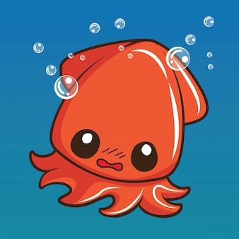 Leuk pijlinktvisbeeldverhaal, dierlijk beeldverhaalconcept.