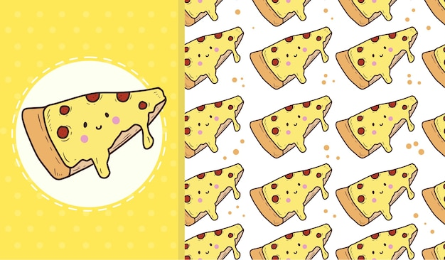 Leuk pizza naadloos patroon Premium Vector
